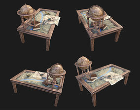 Geographic tactical table with war map 3D asset