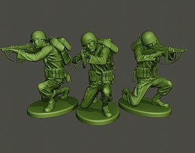 3D print model American soldier ww2 Shoot crouched A2