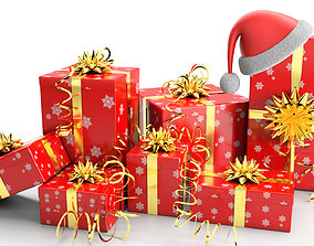 New Year Presents and Gift Boxes 3D asset