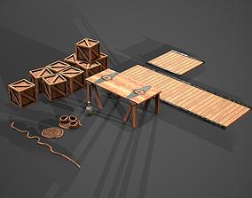 3D asset Old Seaport wood set