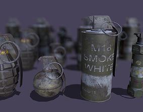 3D asset VR / AR ready Grenade pack
