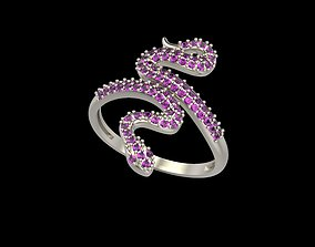 Women Snake Ring with gems 3D print model