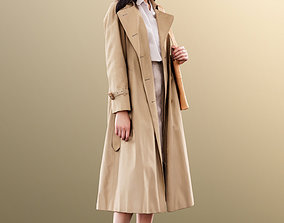 3D asset 11401 Francine - Asian Woman standing coat 2