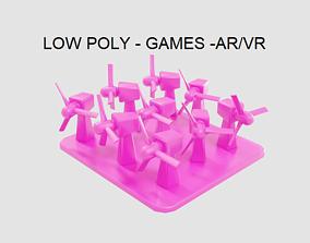 Low Poly Wind Turbine Plant 3D asset