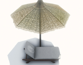 lounger with Umbrella 3D model VR / AR ready