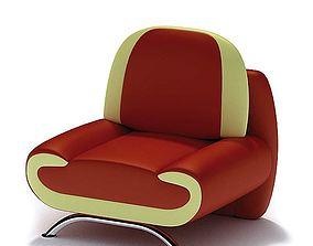 3D Modern Red Armchair