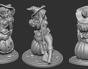 3D print model Witch Pinup - Pumpkin
