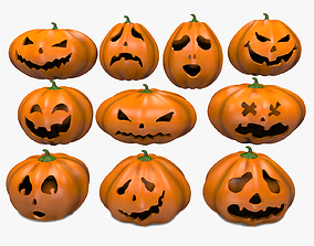 Halloween Pumpkins Emoji Set 3D