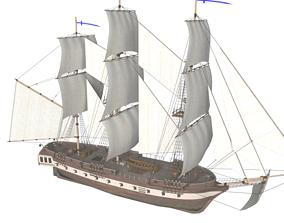 Corvette Ship 3D asset realtime