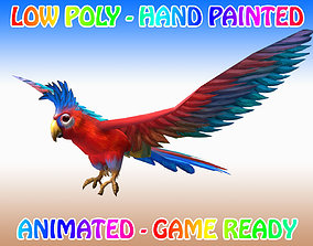 Low poly Macaw Bird Animated - Game Ready 3D model