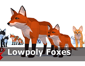 3D asset LowPoly Foxes pack