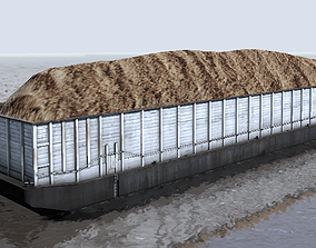 Wood chips barge 3d low-poly model low-poly