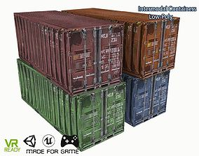 Shipping Container Low Poly 3D asset