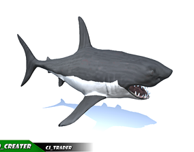 Low-Poly Killer Shark Rigged Animated 3D model animated