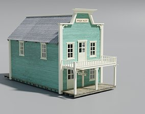 american wildwest cowboy town building 3D asset