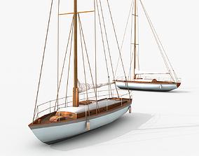 3D asset VR / AR ready watercraft Sailboat
