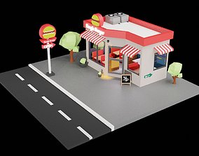 low-poly Low Poly Coffee shop highly Detailed blender