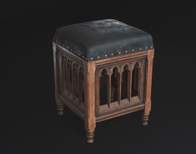 3D asset low-poly Gothic Chair