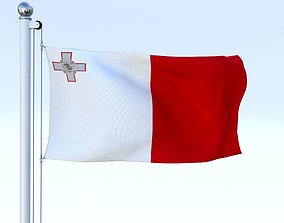 3D asset Animated Malta Flag