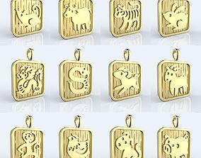 3D print model Chinese 12 animals zodiac pendants