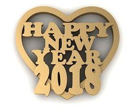 3D print model happy new year 2018