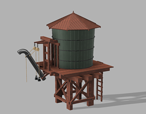 3D printable model Wooden water tower with train