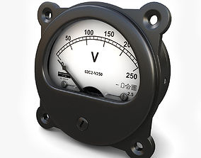 3D model Analog DC Voltmeter 02