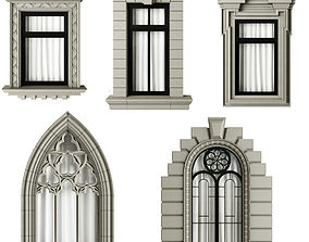 architecture 3D model Classic frame window