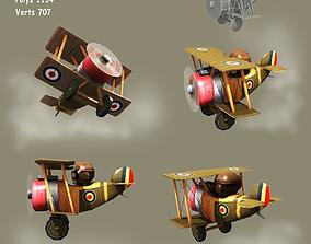 Low poly cartoon WW1 biplane 3D asset