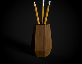 3D model Wooden Pen Holder and pencil