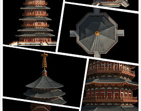 3D model Chinese classical temple tower