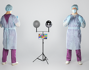 3D asset Surgeon doctor in sterile gloves preparing for 1
