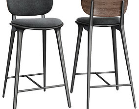 High Stool Backrest by Mater Design 3d model low-poly