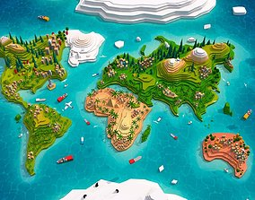 Cartoon Low Poly Earth World Map 2 3D asset