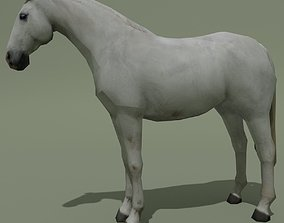 3D model LowPoly Horse D White Grey