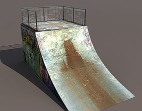 Skate half Pipe Low poly 3d Model low-poly