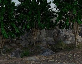 exterior cave with trees 3D
