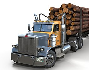 3D asset Peterbilt 359 log trailer