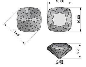Cushion cut gem 10mm 3d model