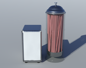 3D asset 1950s Diner Napkin and Straw Dispensers