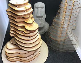 3D Moai idol for laser cutting