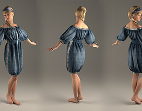 Jeans Dress with glitter band Marvelous Designer and 1