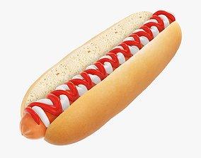 3D model Hot dog with ketchup and mayonnaise