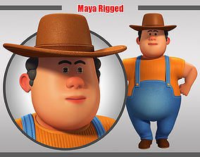 Cartoon Man Rigged 3D model game-ready