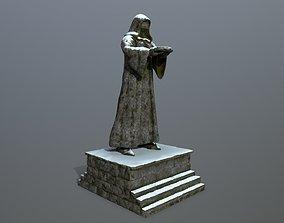 3D asset low-poly statue decoration