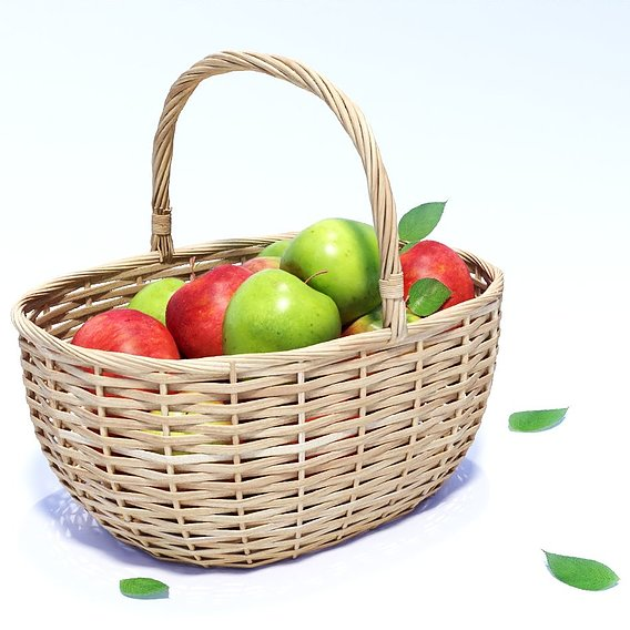 Wicker basket with apples model