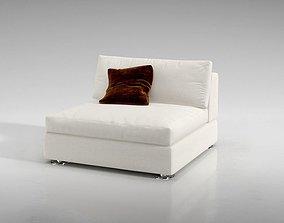 seating 3D model White Modern Sofa