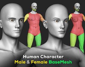 Human Character - Female and Male Basemesh Pack 3D model 3