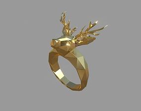 3D print model Low poly Deer Ring
