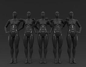 3D model 5 piece Team Sports Female Fashion Mannequin set